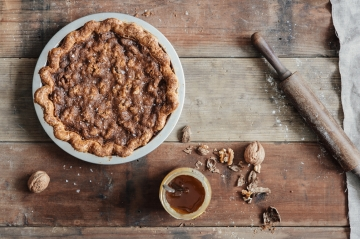 Three Babes Bakeshop Salty Honey Walnut Pie Photo by: Colin Price